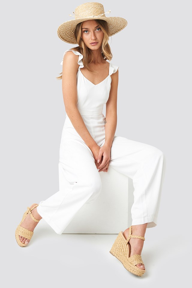 Frill Strap Jumpsuit White