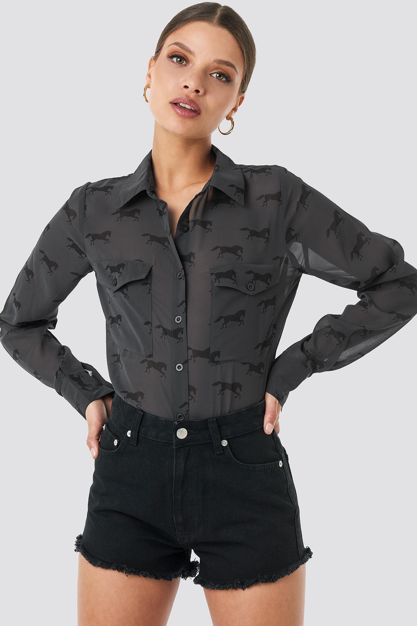na-kd -  Fringe Hem Short Denim Shorts - Black