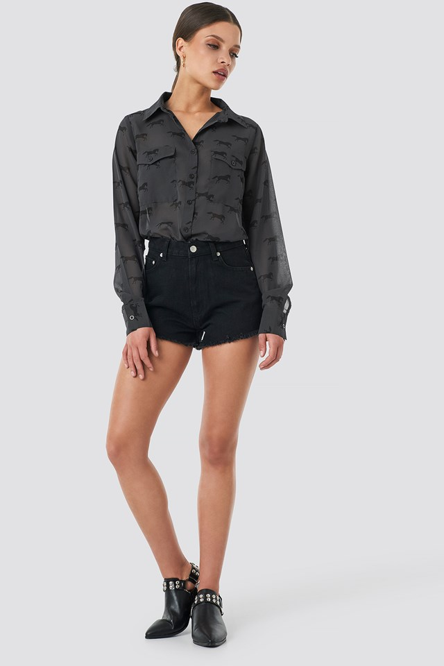Fringe Hem Short Denim Shorts Black
