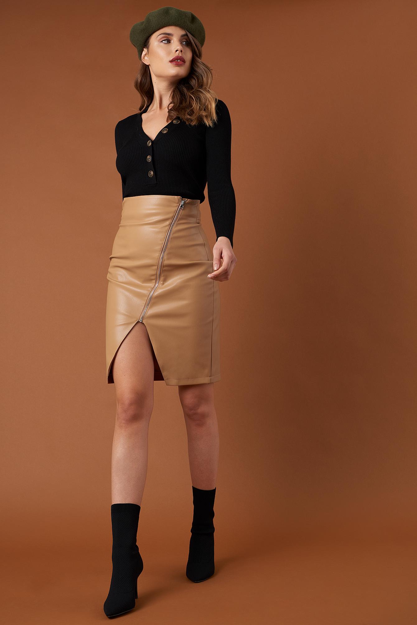 Front Zipper PU Skirt NA-KD.COM