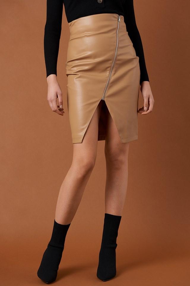 Front Zipper PU Skirt Tan
