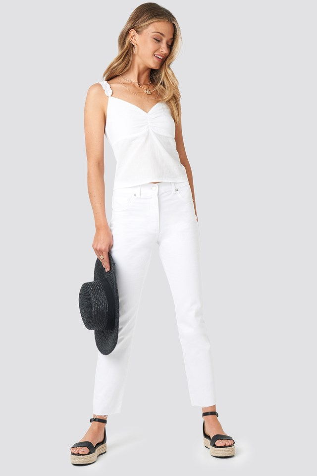 Gathered Front Cotton Singlet White