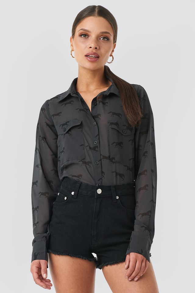 Giddy Up Printed Shirt Black