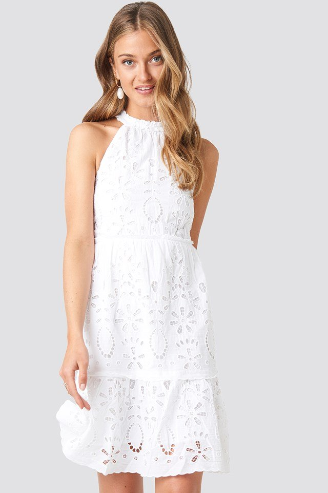 High Neck Anglaise Dress White
