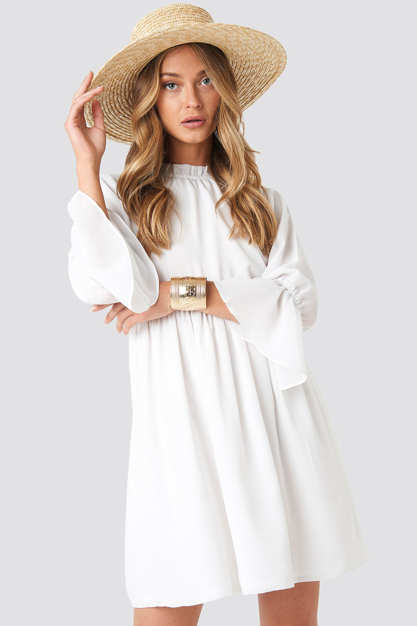 NA-KD | NA-KD Boho High Neck Flare Mini Dress - White | Goxip