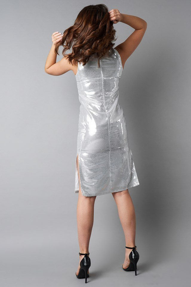 High Neck Side Slit Sequins Dress Silver