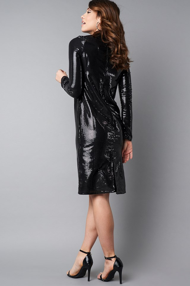 High Neck Straight Sequins Dress NA-KD.COM