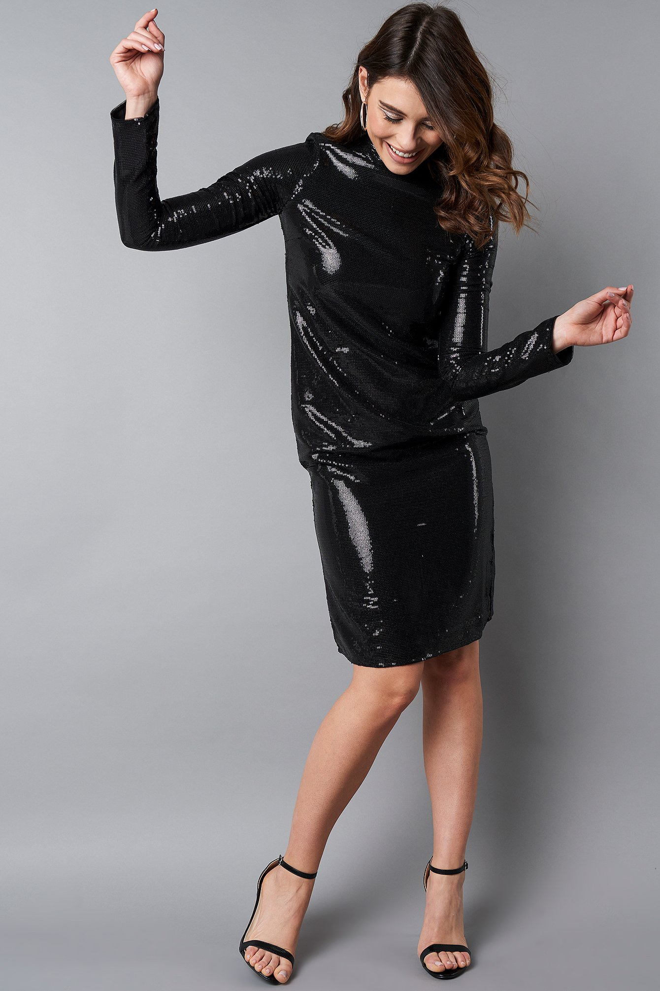 na-kd party -  High Neck Straight Sequins Dress - Black