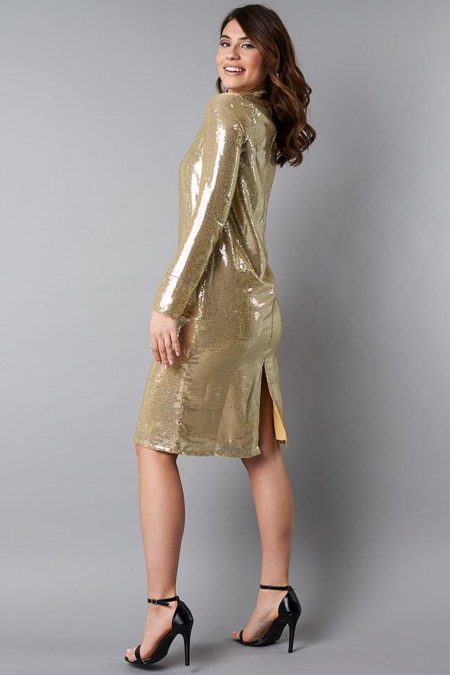 High Neck Straight Sequins Dress NA-KD.COM
