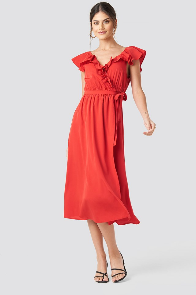 High Slit Frill Midi Dress Red