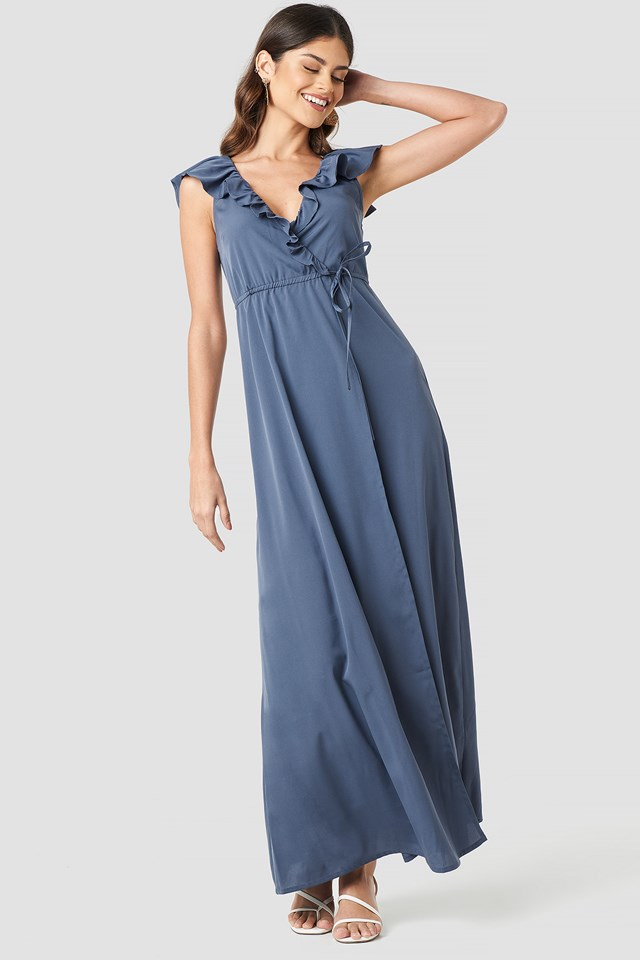 High Slit Tie Waist Maxi Dress Dark Dusty Blue