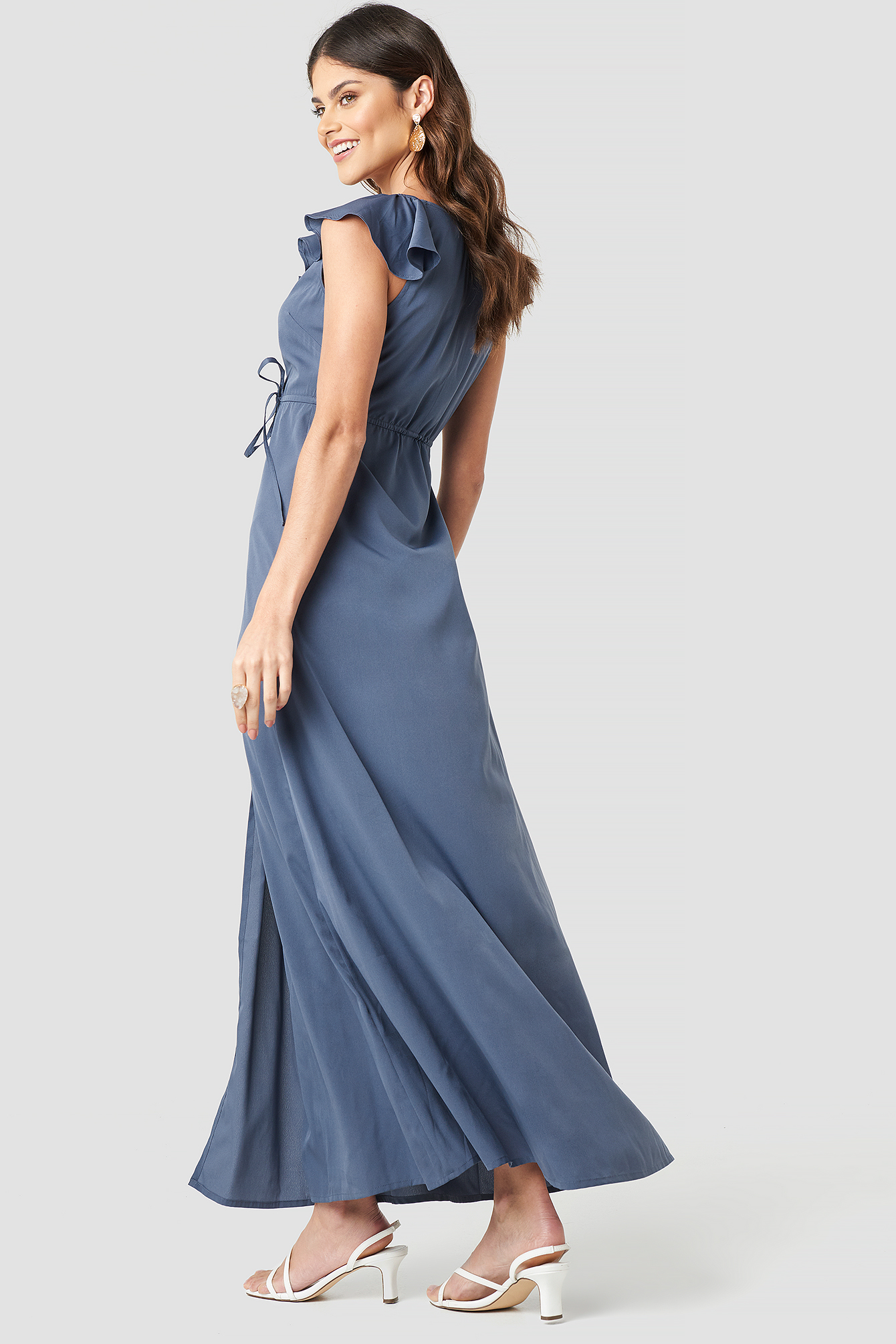 High Slit Tie Waist Maxi Dress NA-KD.COM