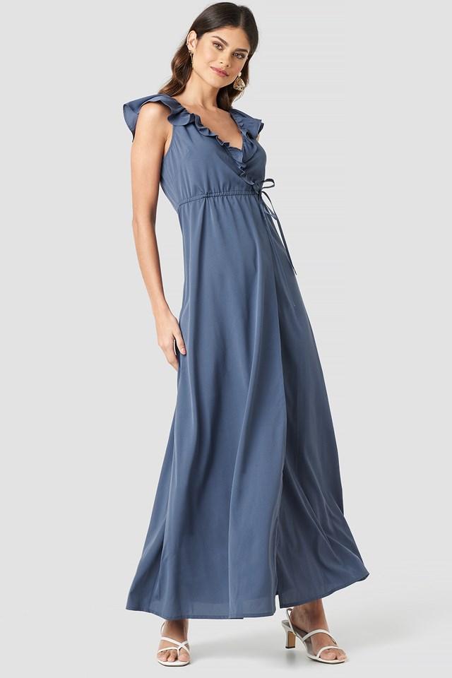 High Slit Tie Waist Maxi Dress Dark Dusty Blue