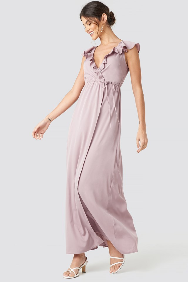High Slit Tie Waist Maxi Dress Dusty Pink