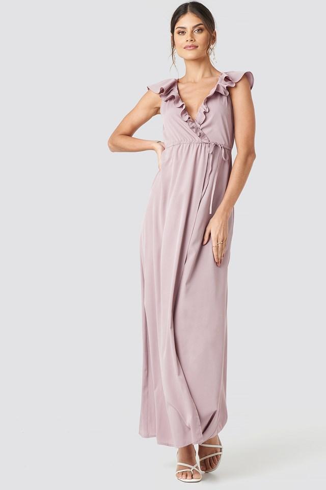 High Slit Tie Waist Maxi Dress Dusty Pink