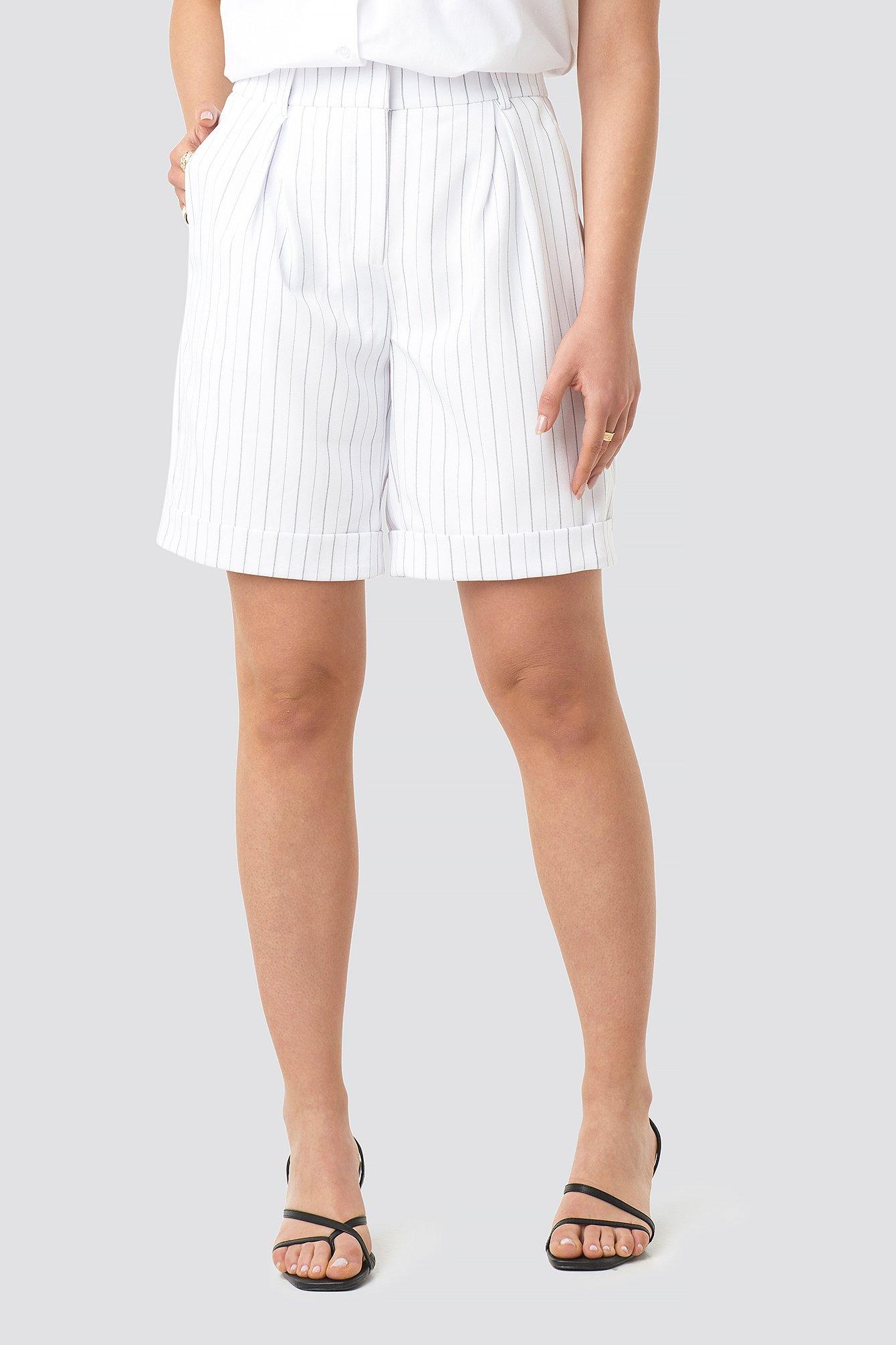 High Waist Striped Shorts NA-KD.COM