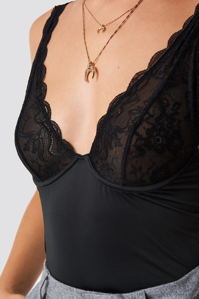 Lace Cup Micro Top Black