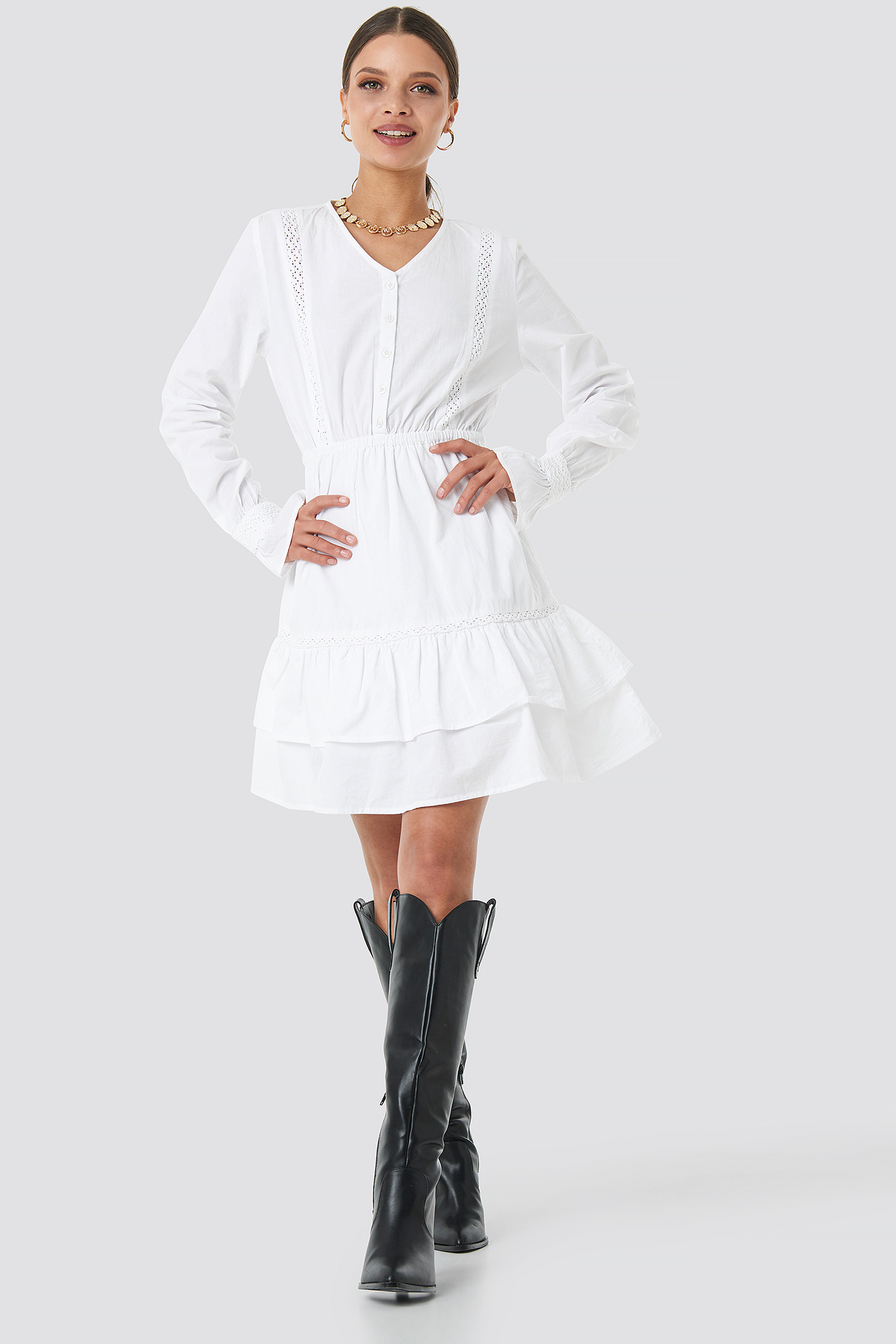 Lace Hem Detailed Dress NA-KD.COM