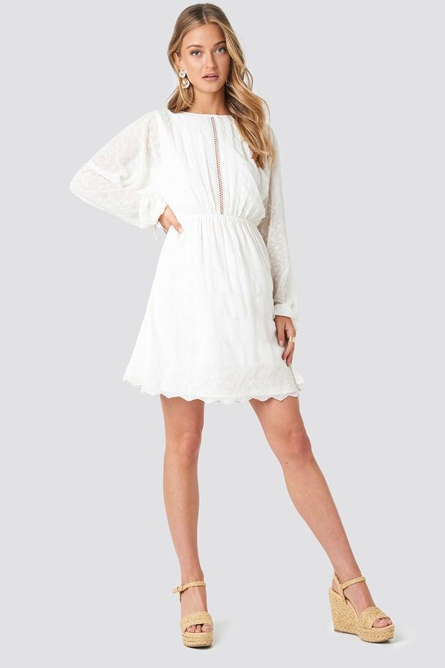 Lace-Up Back Mini Dress White
