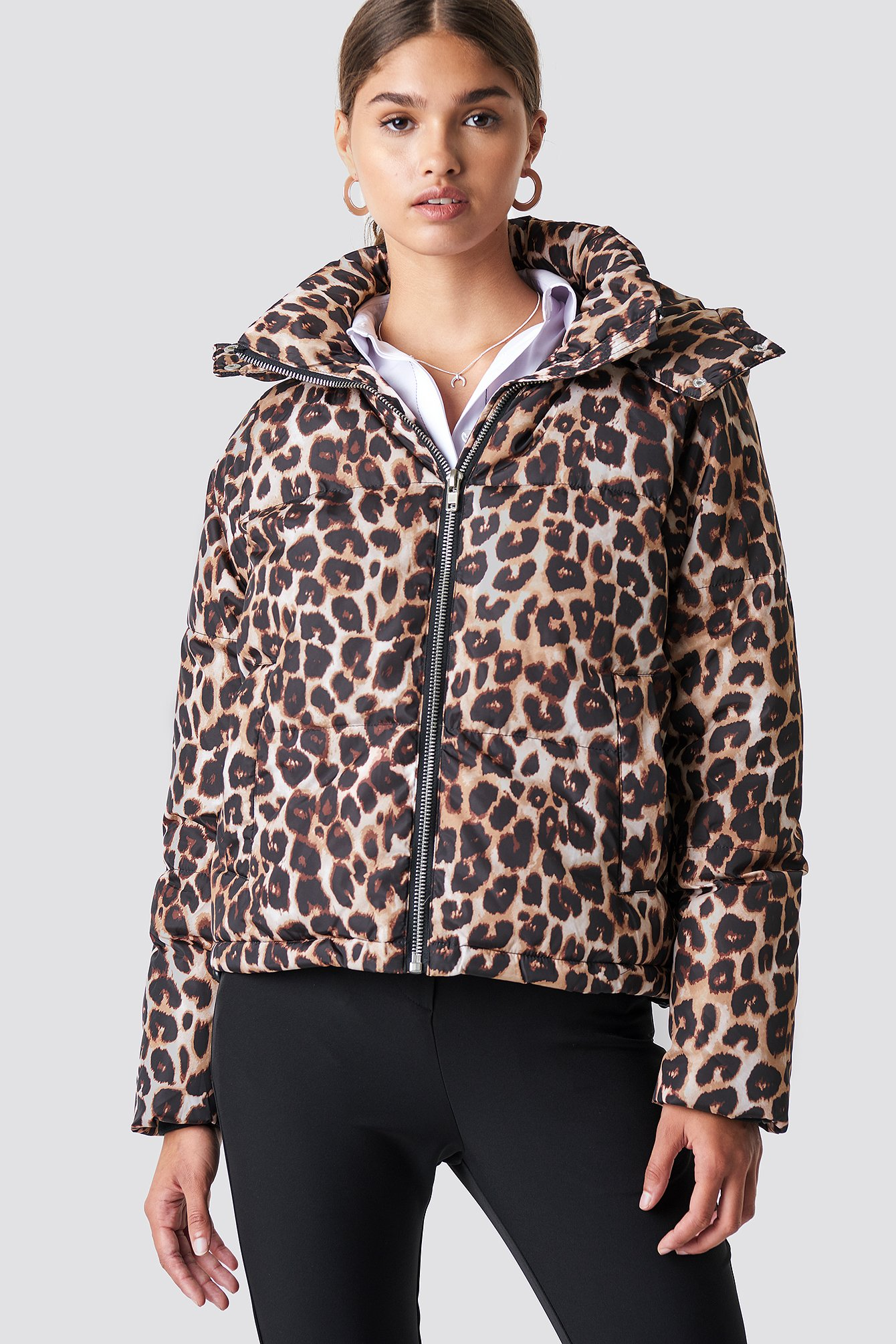 na-kd trend -  Leo Printed Padded Jacket - Brown,Multicolor