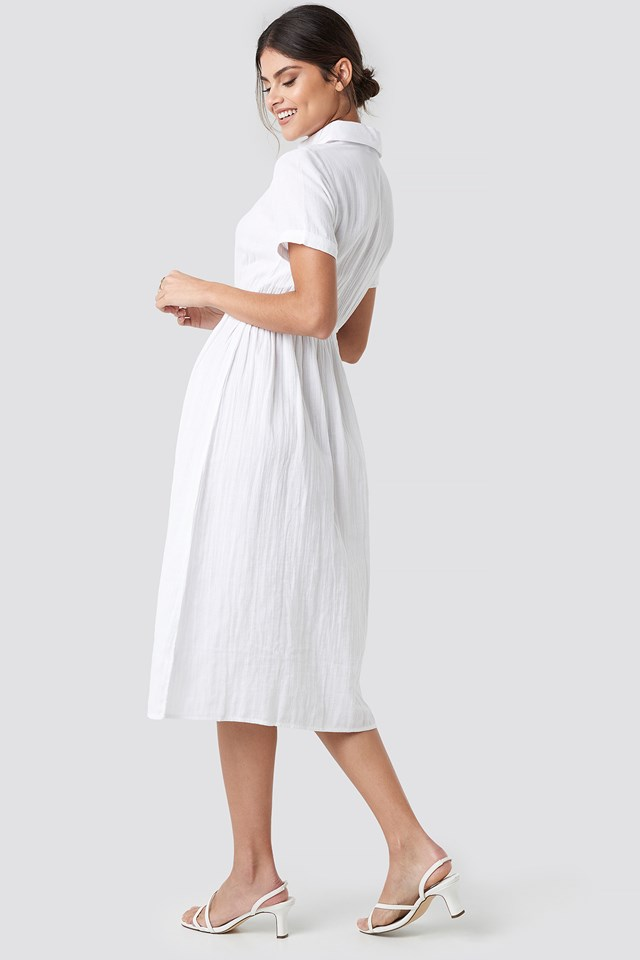 Light Cotton Midi Dress White