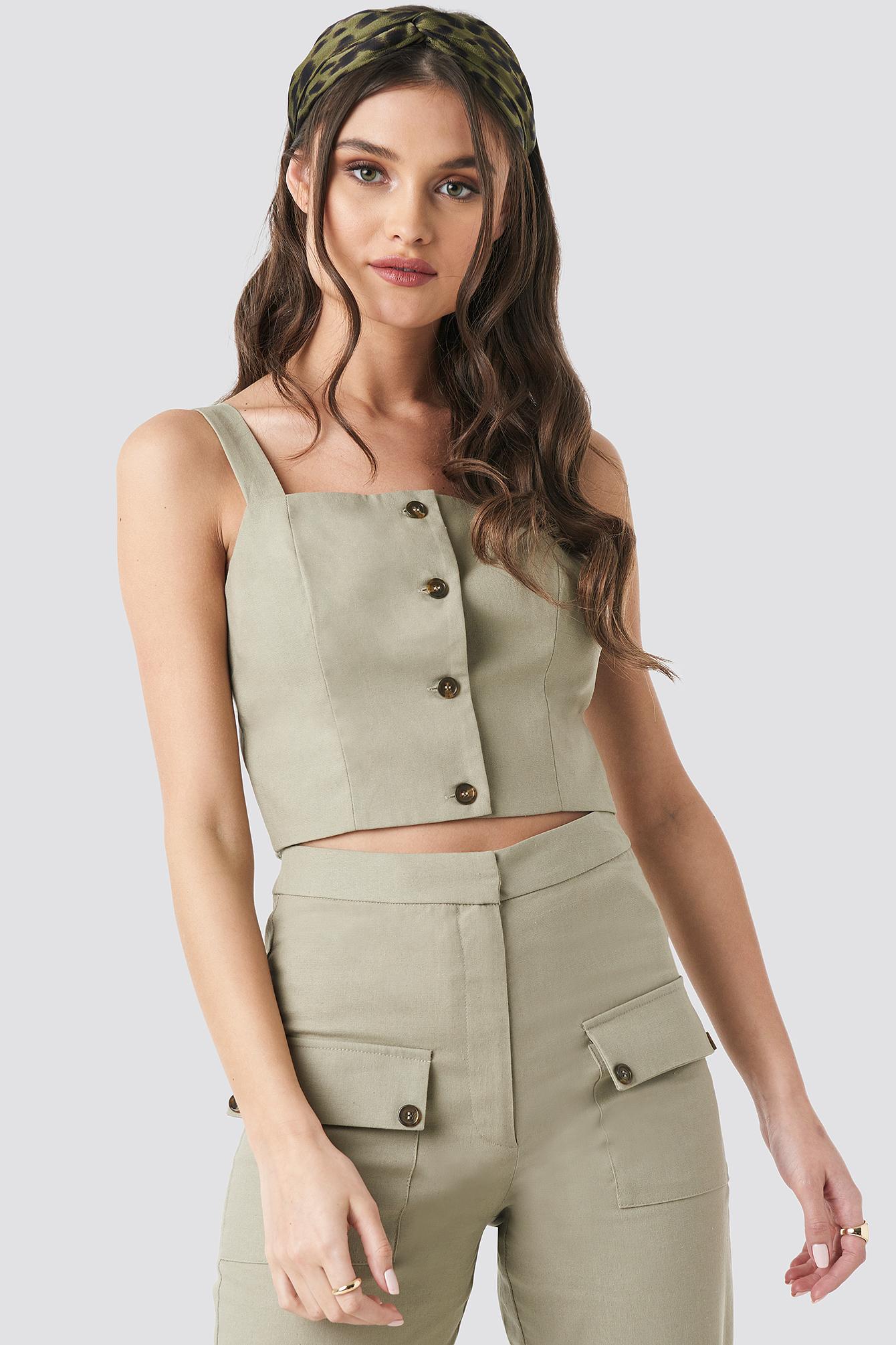 Linen Look Button Up Top NA-KD.COM
