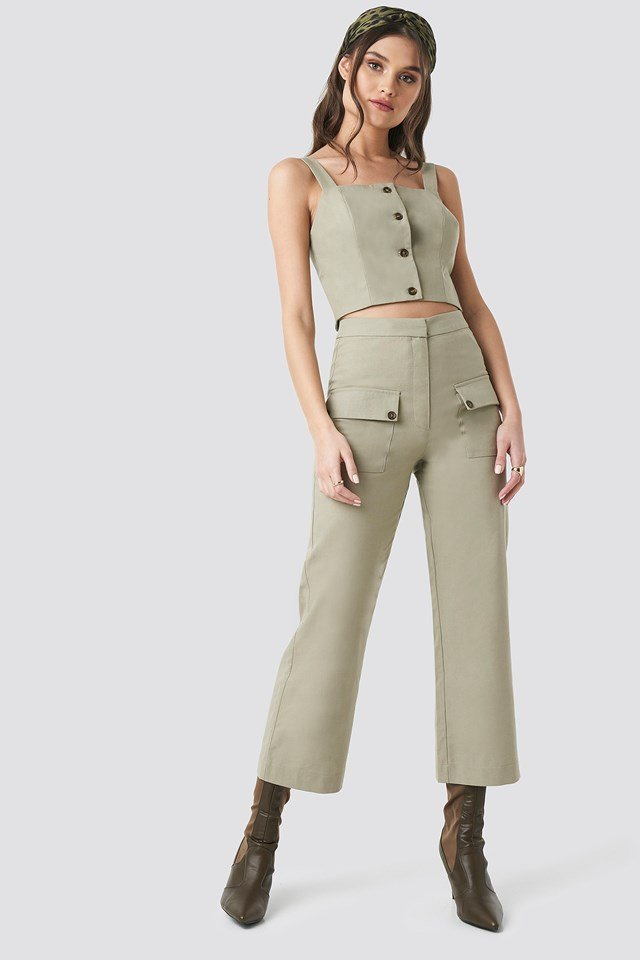 Linen Look Front Pocket Cargo Pants Beige