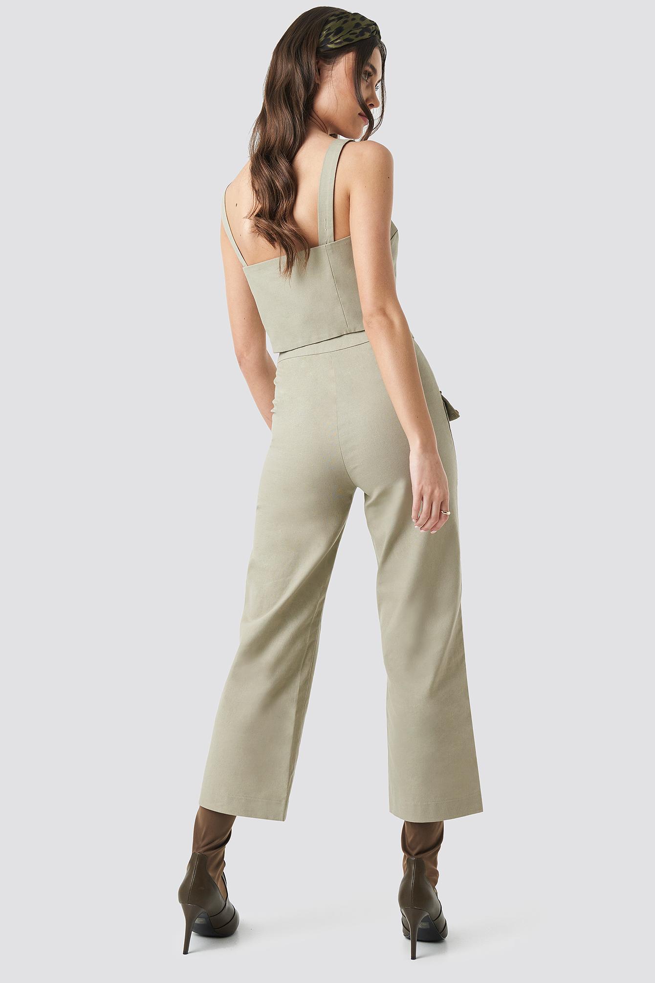 Linen Look Front Pocket Cargo Pants NA-KD.COM