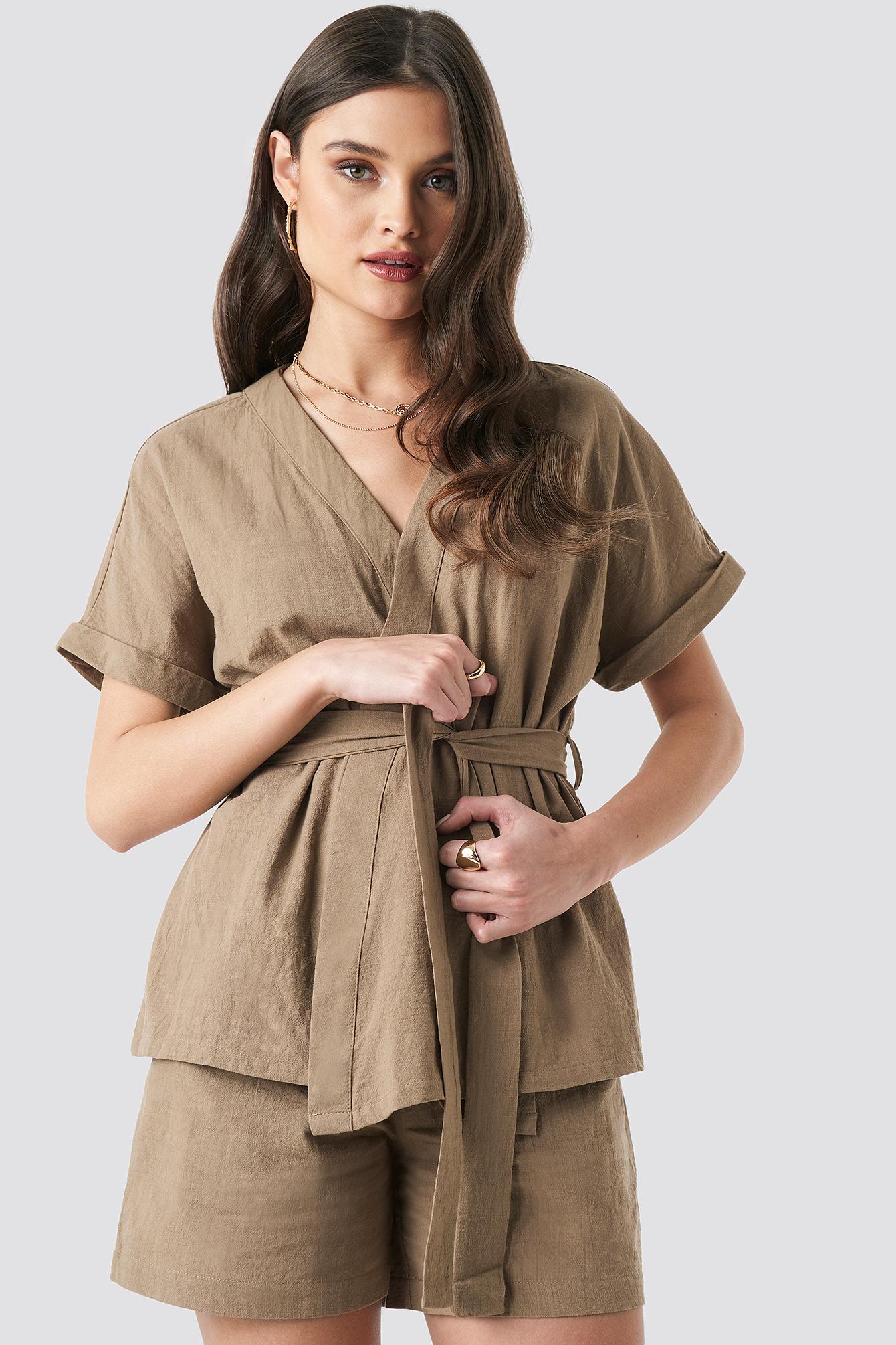 Linen Look Overlap Shirt Blouse NA-KD.COM