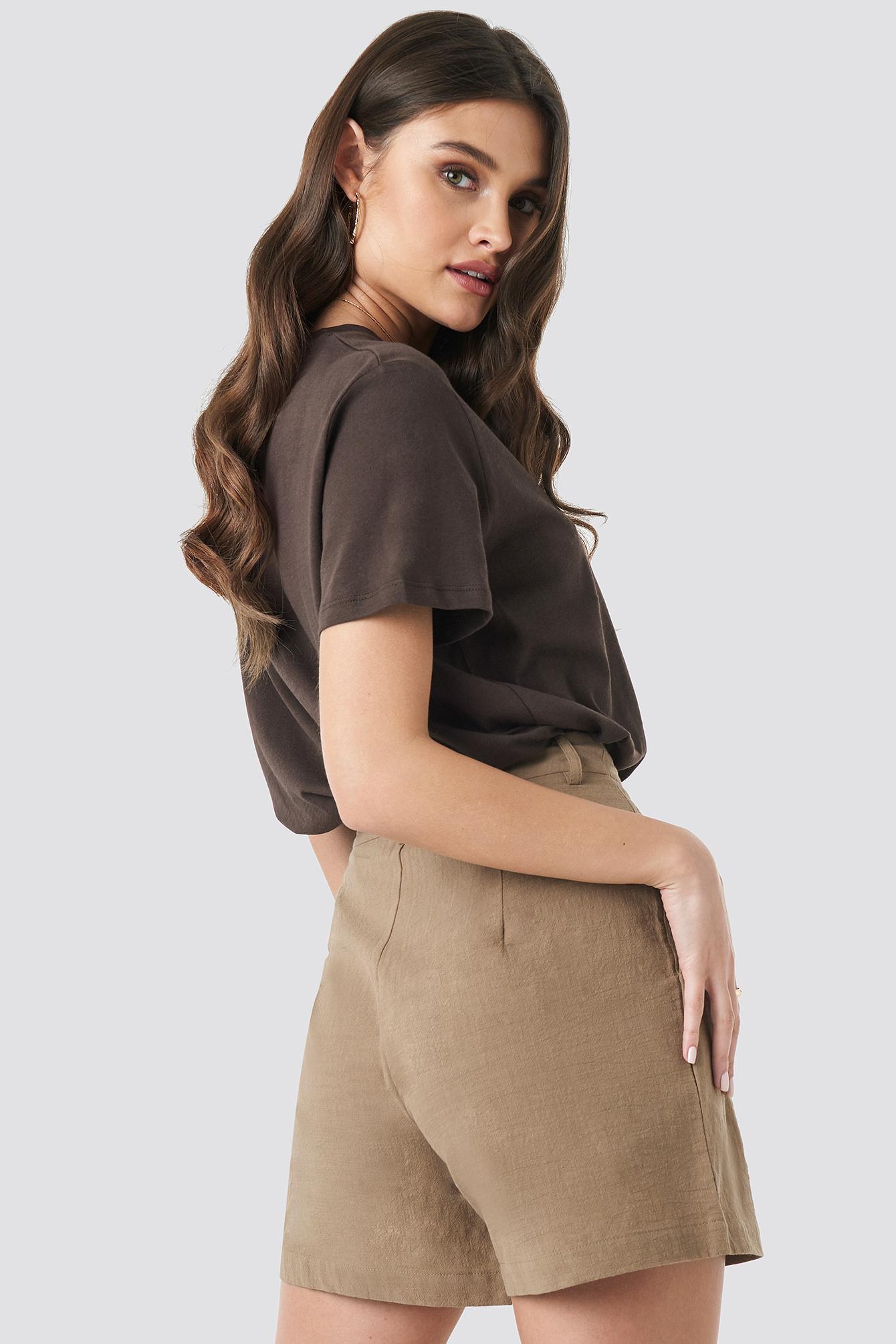 Linen Look Oversized Shorts NA-KD.COM