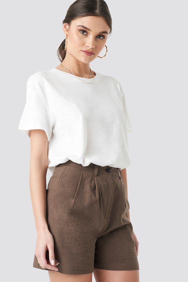 Linen Look Oversized Shorts Brown