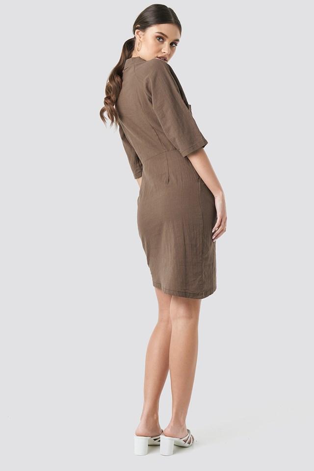 Linen Look Raglan Sleeve Shirt Dress NA-KD.COM