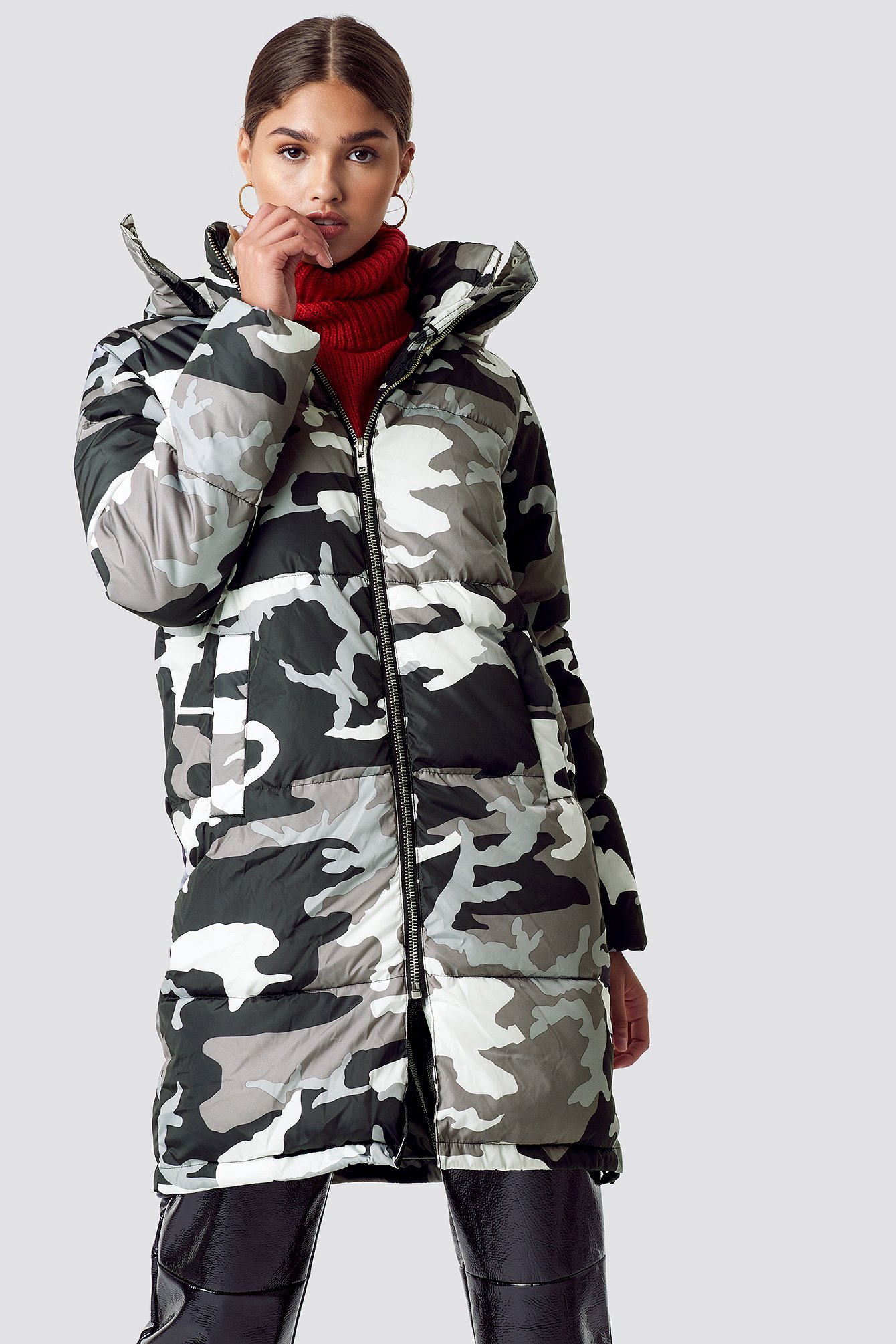 na-kd -  Long Camo Padded Jacket - Grey,Multicolor