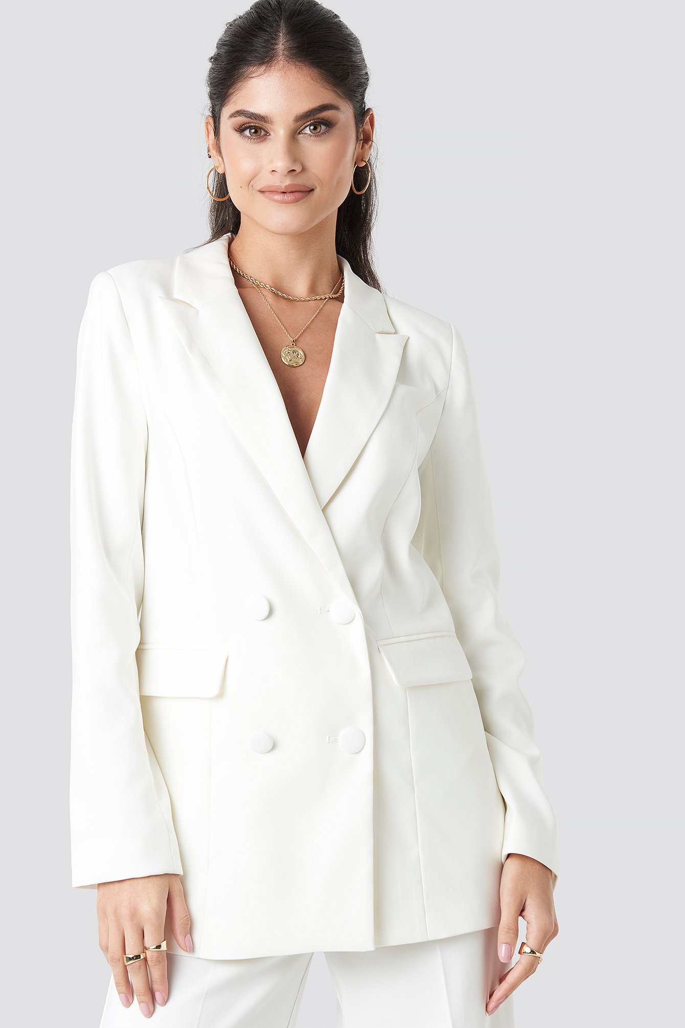 na-kd classic -  Long Double Breasted Blazer - White