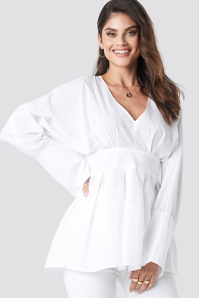 Marked Waist Oversized Blouse White