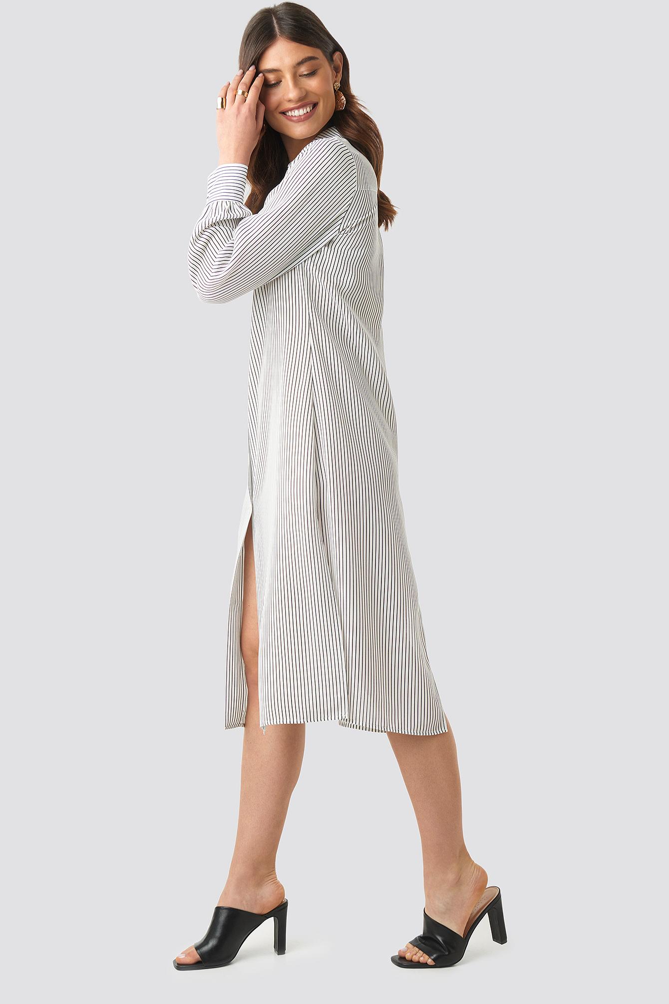 Midi Striped Shirt Dress NA-KD.COM