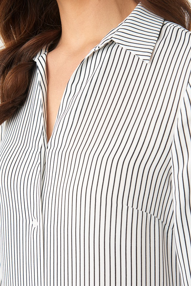 Midi Striped Shirt Dress Black/White Stripe
