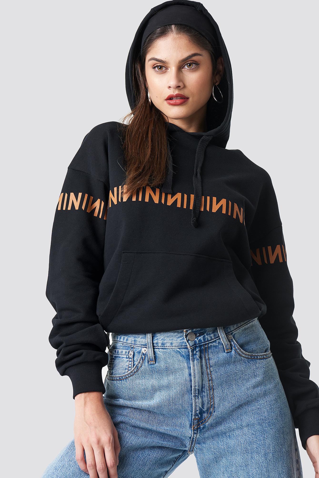 na-kd trend -  N Branded Hoodie - Black