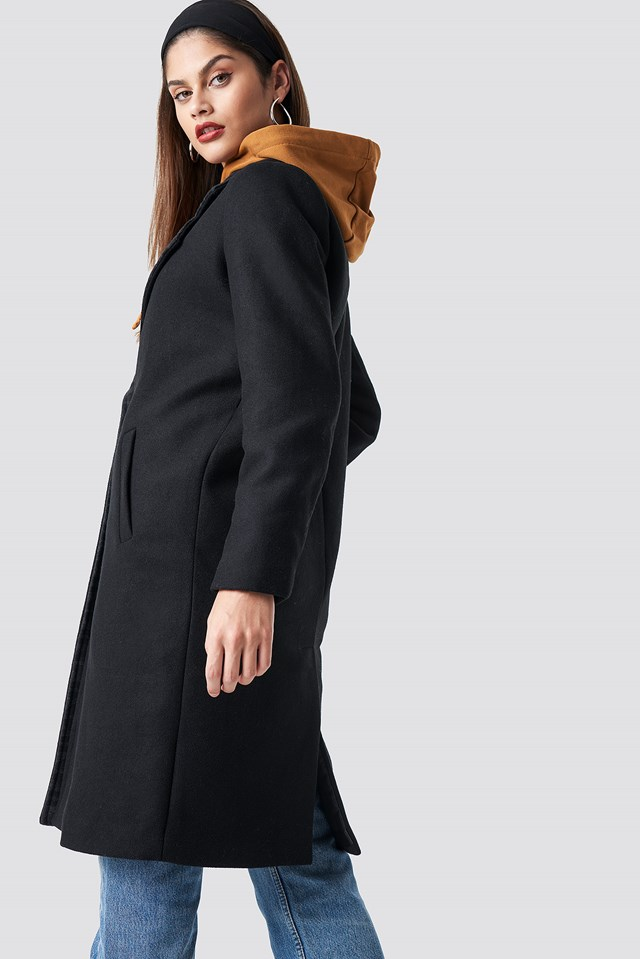N Branded Lapel Coat Black