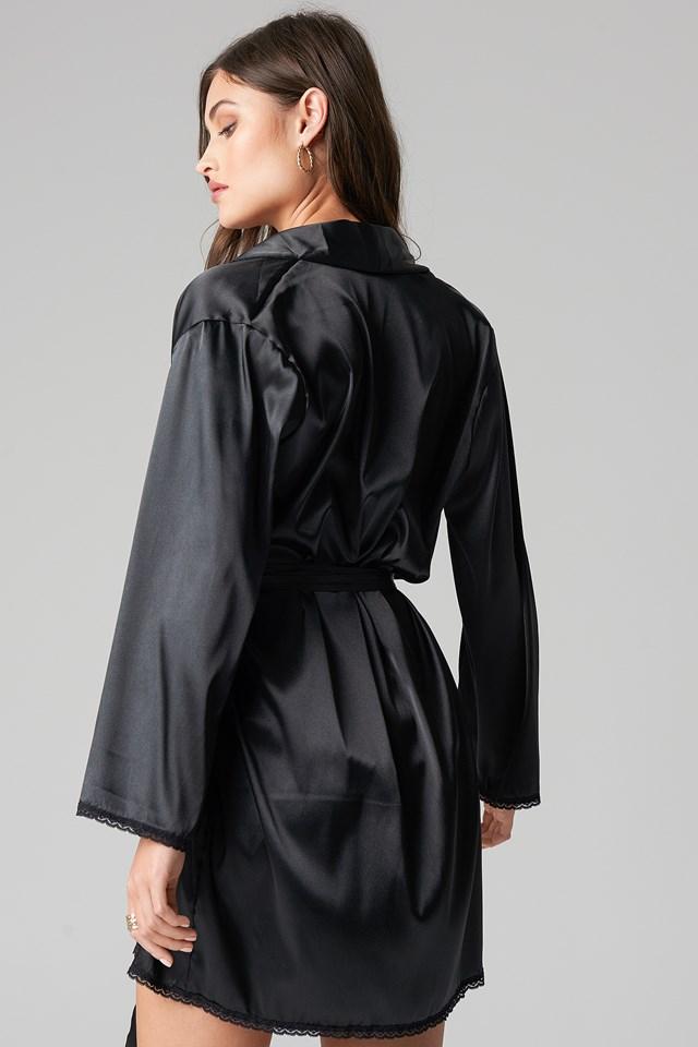 Belted Satin Robe Black