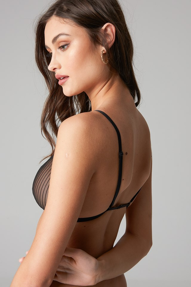 Striped Mesh Bralette Black