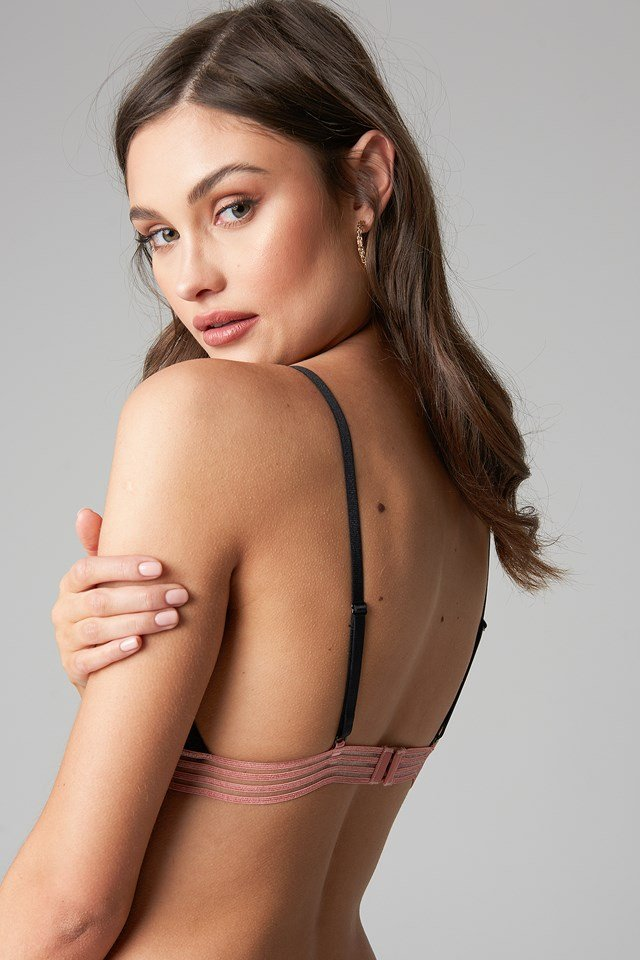 Striped Elastic Lace Bralette Black