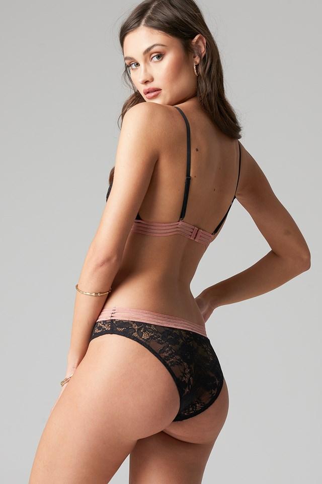 Striped Elastic Lace Panty Black
