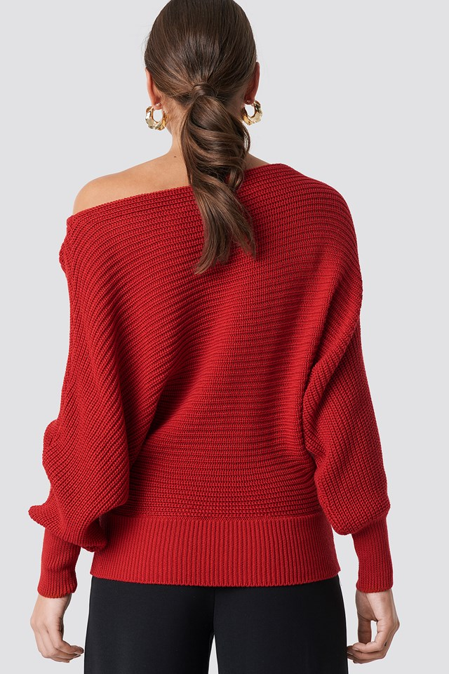 Off Shoulder Knitted Sweater Red