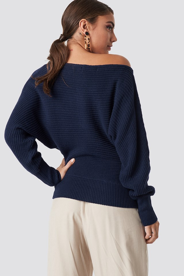 Off Shoulder Knitted Sweater Navy