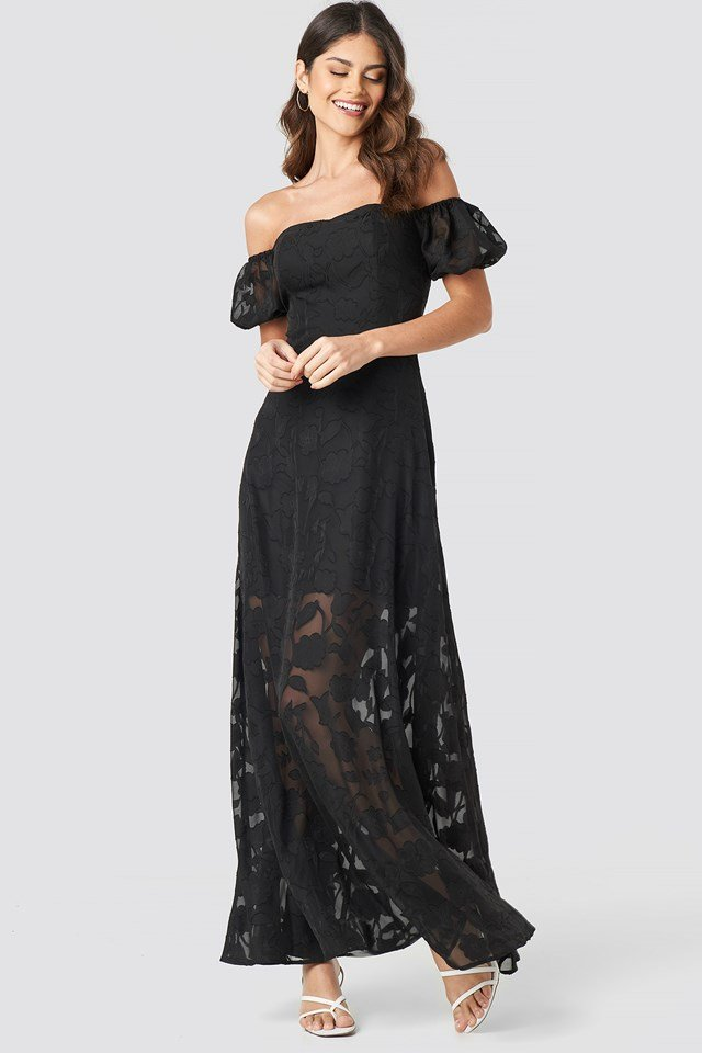 Off Shoulder Puff Sleeve Maxi Dress Black
