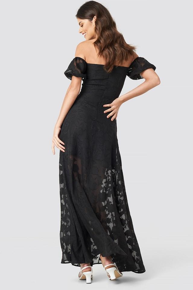 Off Shoulder Puff Sleeve Maxi Dress Black