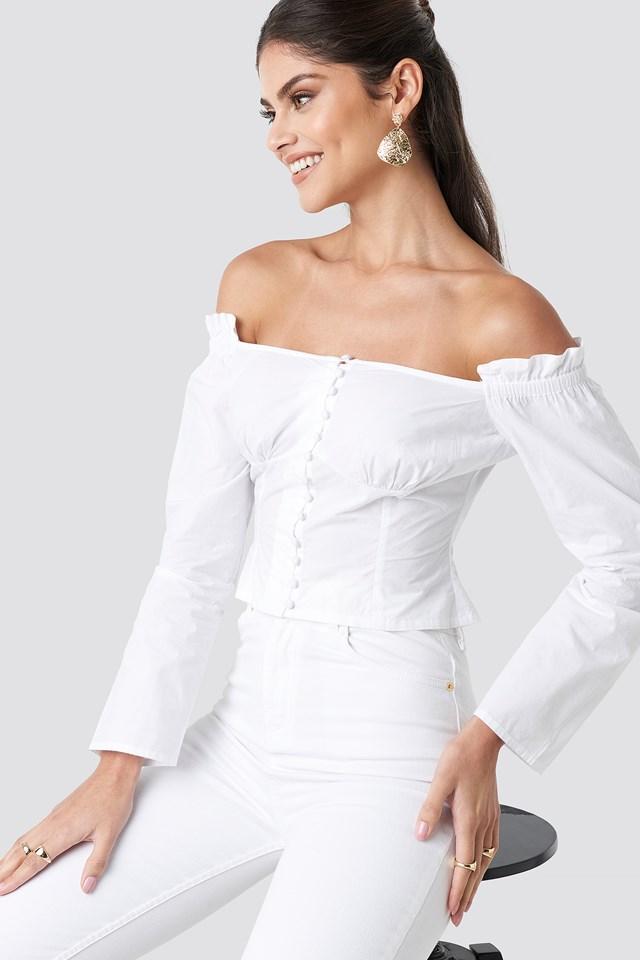 Off Shoulder LS Cotton Blouse White