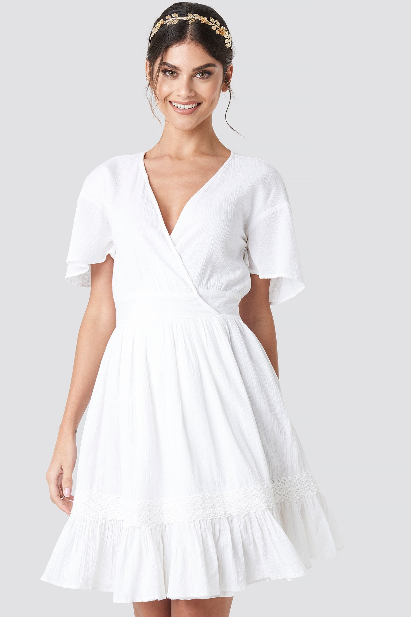 na-kd boho -  Overlap Flowy Mini Dress - White