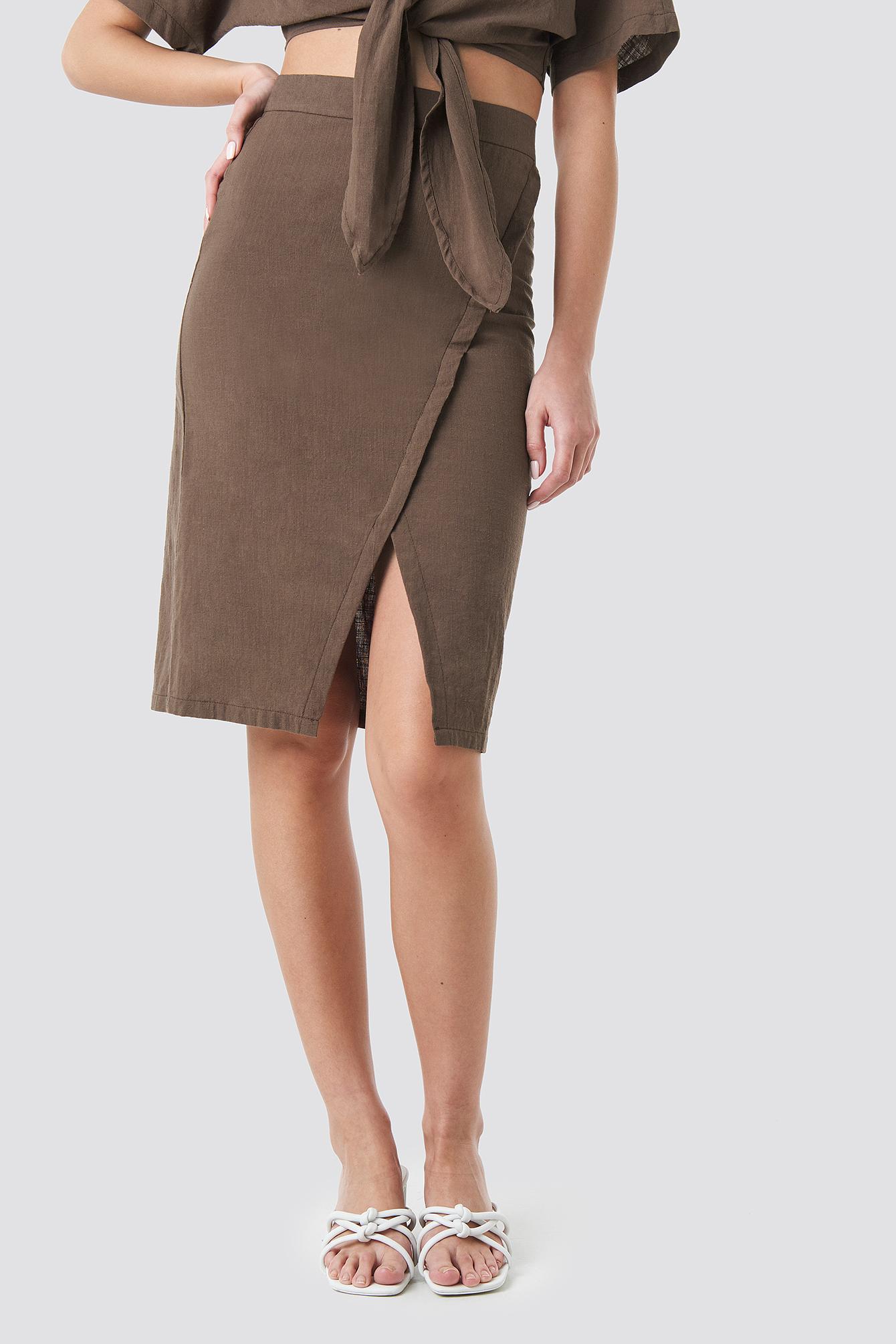 Overlap Linen Look Skirt NA-KD.COM